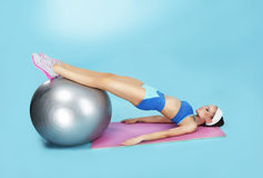 Abdominal Exercise. Sporty Woman with Fitness Ball Stock Photography