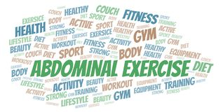 Abdominal Exercise word cloud. Wordcloud made with text only stock illustration