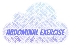 Abdominal Exercise word cloud. Wordcloud made with text only. Great graphic illustration for your needs, beautiful and colorful stock illustration