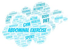 Abdominal Exercise word cloud. Wordcloud made with text only vector illustration
