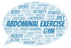 Abdominal Exercise word cloud. Wordcloud made with text only royalty free illustration
