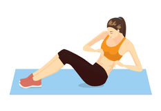 Abdominal Exercises with Body Twists. Healthy woman abdominal exercises with lying and twists her body action Royalty Free Stock Photo