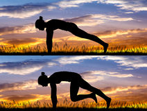 Abdominal exercises at sunset. Illustration of abdominal exercises at sunset Royalty Free Illustration
