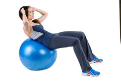 Abdominal Fitball Exercises Royalty Free Stock Images