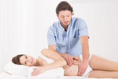 Abdominal massage in the pregnancy Royalty Free Stock Images