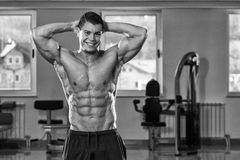 Abdominal Muscle Close-Up. Portrait Of A Physically Fit Man Showing His Well Trained Body In Gym royalty free stock photos