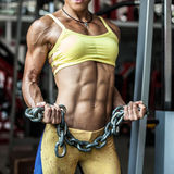Abdominal muscle close up. Strong female posing in the gym royalty free stock photo