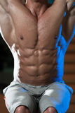 Abdominal Muscle Close-Up. Young Man Performing Hanging Leg Raises Exercise - One Of The Most Effective Ab Exercises royalty free stock image