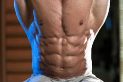 Abdominal Muscle Close-Up. Young Man Performing Hanging Leg Raises Exercise - One Of The Most Effective Ab Exercises royalty free stock photo