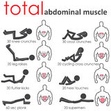 Abdominal muscle. Posture of the body to build muscle belly Stock Photos