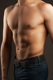 Abdominal muscles and chest. Athlete in the studio. Stock Image