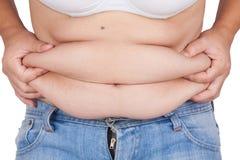 Abdominal- Oberfläche der fetten Frau auf weißem Hintergrund Stockfotografie