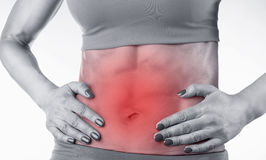 Abdominal pain. Close up of a woman's abdomen with menstrual pain isolated on white background Royalty Free Stock Photos