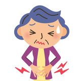 Abdominal pain. Grandmother who appeals for abdominal pain Stock Illustration