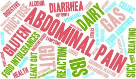 Abdominal Pain Word Cloud. On a white background Royalty Free Stock Photo