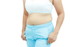 Abdominal surface of fat woman Stock Image