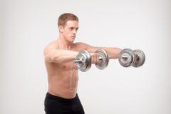 Abdominals con pesas de gimnasia Fotos de archivo