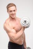 Abdominals con pesas de gimnasia Fotografía de archivo