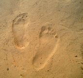 Abdrücke auf dem Sand Lizenzfreies Stockfoto