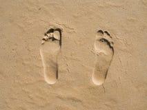 Abdrücke auf Sand stockfoto