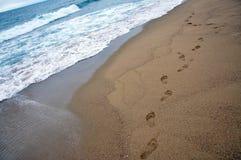 Abdrücke auf Sandstrand Stockbilder