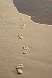 Abdrücke auf Strandsand Stockfotografie
