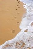 Abdrücke auf Strandsand Stockbilder