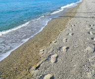 Abdrücke im Sand stockfotos