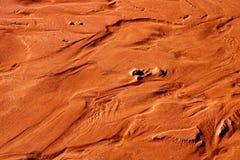 Abdrücke im Sand auf dem Fußweg in Richtung zur Kehre in Arizona stockfoto