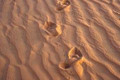 Abdrücke im Sand in der roten Wüste bei Sonnenaufgang Stockfotografie