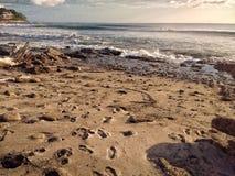 Abdrücke im Sand in Meer stockbilder