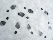 Abdrücke im Schnee Stockfotografie