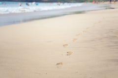 Abdrücke von bloßen Füßen im Sand auf dem Strand Stockbilder