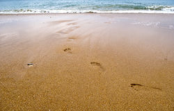 Abdruck auf dem Strand Stockfoto