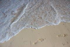Abdruck auf Strand Lizenzfreie Stockbilder
