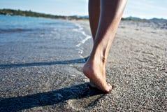 Abdruck auf Strand Lizenzfreie Stockfotos