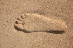 Abdruck im Sand Stockfoto