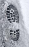 Abdruck im Schnee Lizenzfreies Stockfoto