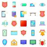 A abducção de ícones dos dados ajustou-se, estilo dos desenhos animados Fotografia de Stock