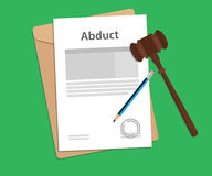 Abduct text on stamped paperwork illustration with judge hammer and folder document with green background Royalty Free Stock Photos