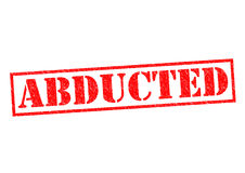 ABDUCTED. Red Rubber Stamp over a white background stock illustration