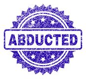 Scratched ABDUCTED Stamp Seal. ABDUCTED stamp watermark with dirty style. Blue vector rubber seal print of ABDUCTED title with dirty texture Stock Image