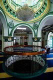 Abdul Gaffoor Mosque. Singapore, 2 Feb 2017: Interior of Abdul Gaffoor Mosque, a mosque in Singapore constructed in year 1907. The mosque located in Little India Royalty Free Stock Photo