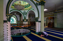Abdul Gaffoor Mosque. Singapore, 2 Feb 2017: Interior of Abdul Gaffoor Mosque, a mosque in Singapore constructed in year 1907. The mosque located in Little India Royalty Free Stock Photos