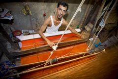 Abdul Kuddus Sawon 38 anni un lavoratore di Benarashi Palli Fotografie Stock Libere da Diritti