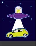 Abduzione verde del UFO dello straniero Fotografia Stock Libera da Diritti