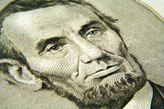 Abe. Close up of Abraham Lincoln from the five dollar bill Royalty Free Stock Images