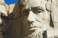 Abe Lincoln at Mount Rushmore. Close up view of Abraham Lincoln at Mount Rushmore National Memorial stock photos