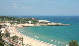 A beach in Tarragona, Spain. Aerial view of a beach in Tarragona in Spain Royalty Free Stock Image