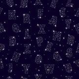 Abecadła ABC chrzcielnicy bezszwowy deseniowy wektorowy abecadłowy gwiazdozbiór z listami od gwiazdy astromomy alfabetycznego ilustracji